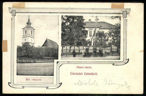 Zabola Református templom. Állami iskola