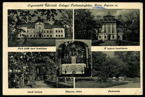 Zsira Legszentebb Üdvözítő Leányai Tartományháza, Sopron m.; Park felőli kerti homokzat; A bejárat h...