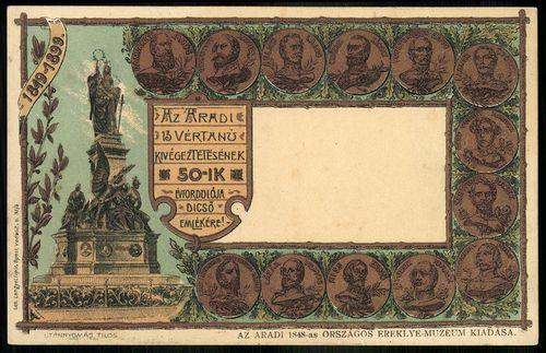 Aradi vértanúk; Az aradi vértanúk kivégeztetésének 50-ik évfordulója dicső emlékére, 1849-1899.