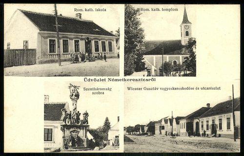 Németkeresztes Szentháromság szobra. Római katolikus iskola. Római katolikus templom. Wiesner Gusztá...