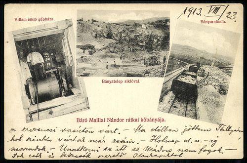 Rátka Báró Maillat Nándor kőbányája. Villám sikló gépháza. Bányatelep siklóval. Bányarakodó.