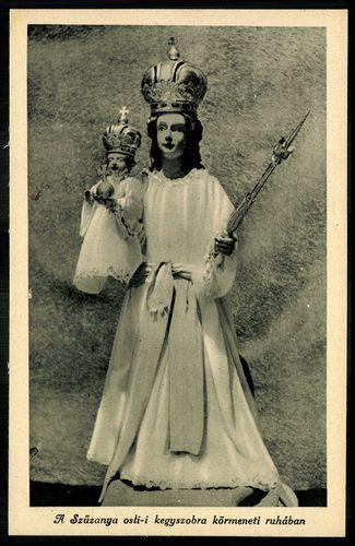 Osli A Szűzanya osli-i kegyszobra körmeneti ruhában