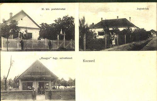 """Kocsord; M. kir. postahivatal; Jegyző-lak; """"Hangya"""" fogy. szövetkezet"""