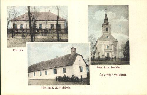 Üdvözlet Valkóról. Plébánia; Róm. kat. templom; Róm. kat. el. népiskola