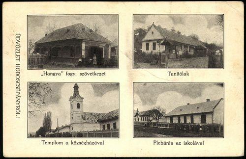 """Üdvözlet Hodoscsépányról! """"Hangya"""" fogy. szövetekezet; Tanítólak; Templom a községházával; Plebánia ..."""