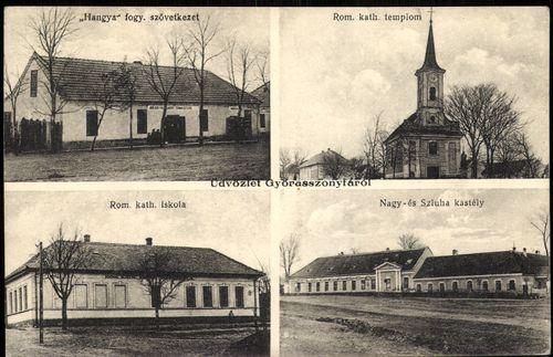 """Üdvözlet Győrasszonyfáról. """"Hangya"""" Fogy. Szövetkezet; Róm. kat. templom; Róm. kat. iskola; Nagy- és..."""