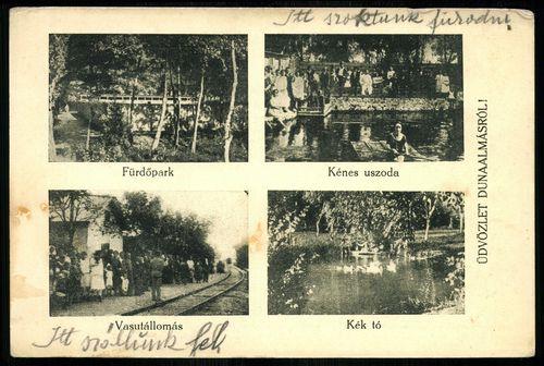 Dunaalmás; Fürdőpark. Kénes uszoda. Vasútállomás. Kék-tó