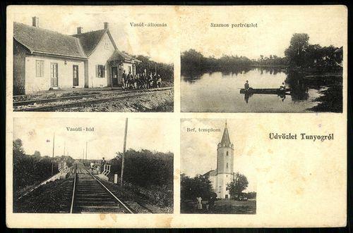 Tunyog; Vasútállomás. Szamos partrészlet. Vasúti híd. Református templom