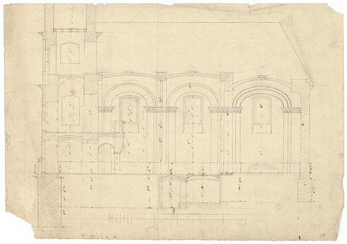 Római katolikus templom és plébánia. Hosszmetszet. [HU BFL - XV.17.f.331.b - 4/11]