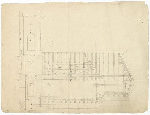 Római katolikus templom és plébánia. Fedélszék metszete és a... [HU BFL - XV.17.f.331.b - 4/12]