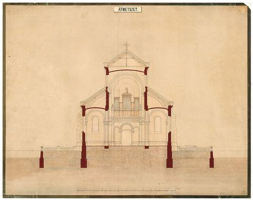 Római katolikus templom és plébánia. Keresztmetszet az oltár... [HU BFL - XV.17.f.331.b - 4/18]