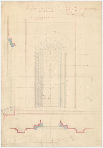 Római katolikus templom és plébánia. Nagy torony alsó ablaka... [HU BFL - XV.17.f.331.b - 4/91]