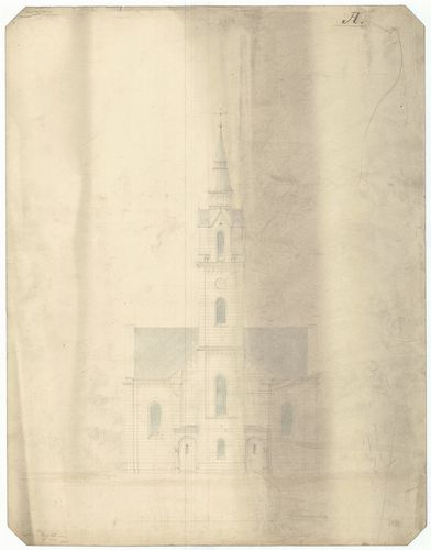 Római katolikus templom. Homlokzat toronnyal A változat. [HU BFL - XV.17.f.331.b - 13/2]