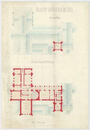 Zichy Pál gróf kastélya (Anna-vár). Emeleti és tetőalaprajz,... [HU BFL - XV.17.f.331.b - 14/1]