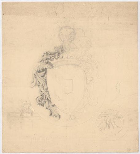 Wenckheim Frigyes gróf kastélya. A Wenckheim-címer rajza az ... [HU BFL - XV.17.f.331.b - 20/6]