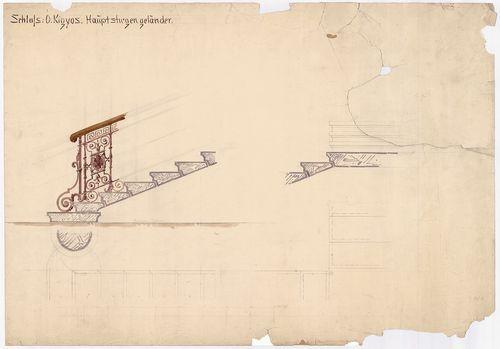 Wenckheim Frigyes gróf kastélya. Főlépcső részletterve. [HU BFL - XV.17.f.331.b - 20/7]