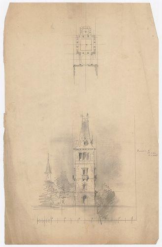 Károlyi-kastély. Az emeletes szárnyhoz csatlakozó torony ter... [HU BFL - XV.17.f.331.b - 21/3]