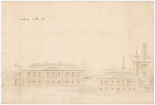 Károlyi-kastély. Földszintes szárnyra emeletráépítés és toro... [HU BFL - XV.17.f.331.b - 21/5]
