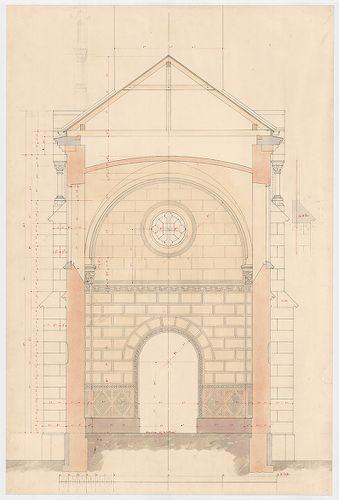 Clarisseum gyermekmenhely. Metszet a kápolnán keresztül a be... [HU BFL - XV.17.f.331.b - 26/19]