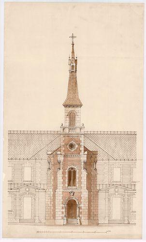 Clarisseum gyermekmenhely. Kápolna főhomlokzat. [HU BFL - XV.17.f.331.b - 26/20]