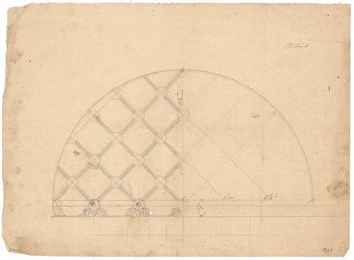 Dlauchy Károly háza. Kapu feletti kovácsoltvas rács vázlata. [HU BFL - XV.17.f.331.b - 43/4]