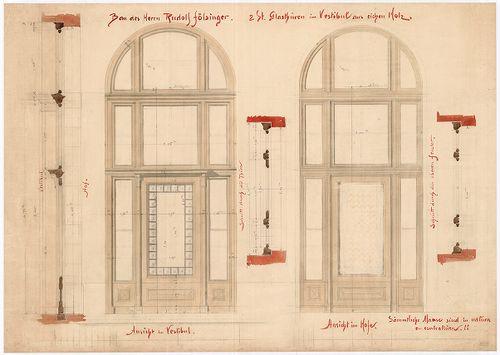 Fölsinger Rezső háza. Két tölgyfa üvegajtó az előcsarnokban. [HU BFL - XV.17.f.331.b - 52/1]