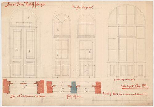 Fölsinger Rezső háza. Ajtóterv. [HU BFL - XV.17.f.331.b - 52/2]