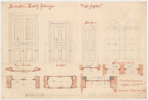 Fölsinger Rezső háza. Ajtó- és ablaktervek. [HU BFL - XV.17.f.331.b - 52/3]