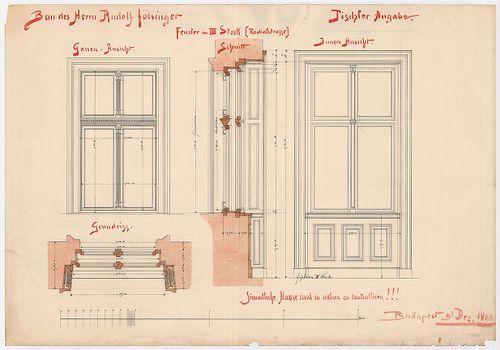 Fölsinger Rezső háza. Ablakterv a harmadik emeleten. [HU BFL - XV.17.f.331.b - 52/6]