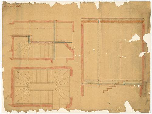 Károlyi György gróf palotabérháza. Belső falépcső szerkezeti... [HU BFL - XV.17.f.331.b - 57/9]