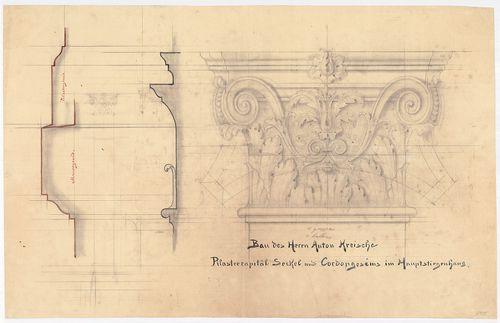 Kreische Antal bérháza. Lépcsőházi tagozatok metszete és néz... [HU BFL - XV.17.f.331.b - 67/15]