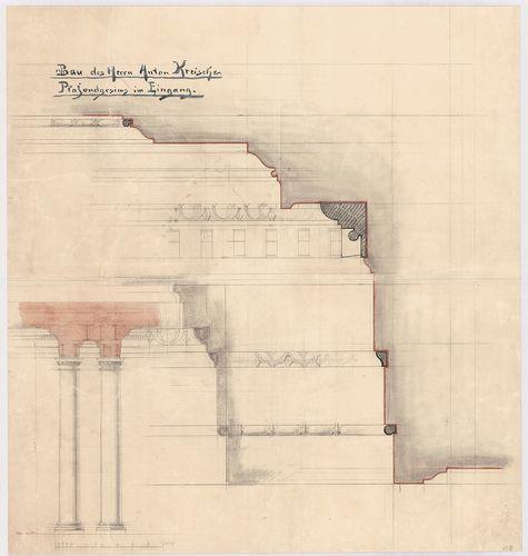 Kreische Antal bérháza. Bejárati mennyezeti tagozatok részle... [HU BFL - XV.17.f.331.b - 67/18]
