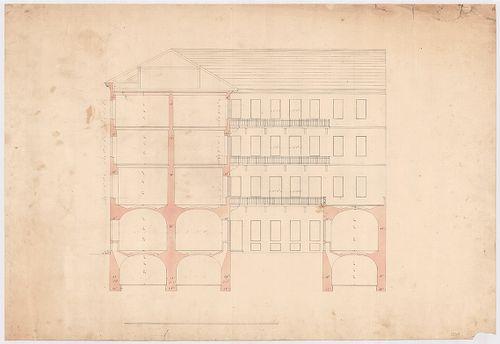 Leitner-bérház. Az épület metszete az utcai szárnyon és az u... [HU BFL - XV.17.f.331.b - 69/1]