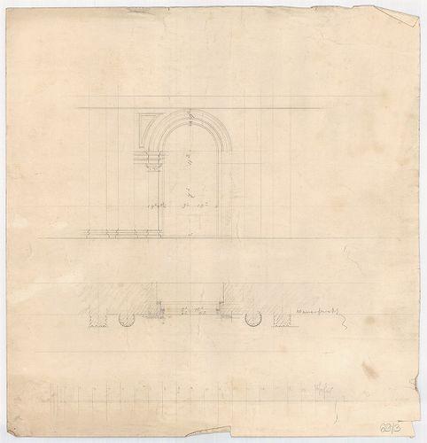 Leitner-bérház. Földszinti nyílás nézete és vízszintes metsz... [HU BFL - XV.17.f.331.b - 69/3]