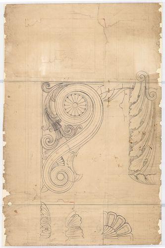 Leitner-bérház. Főpárkány konzol elöl- és oldalnézete. [HU BFL - XV.17.f.331.b - 69/16]