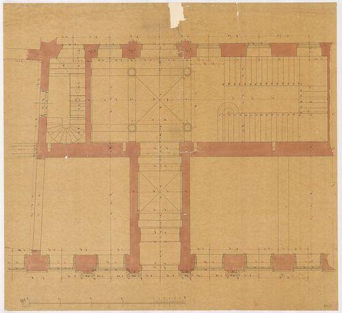 Lánchíd Rt. székháza. Földszinti alaprajz részlete a főbejár... [HU BFL - XV.17.f.331.b - 101/5]