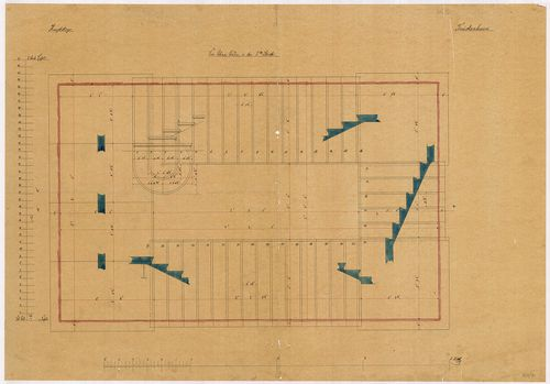 Lánchíd Rt. székháza. Főlépcső földszinti alaprajza részmets... [HU BFL - XV.17.f.331.b - 101/7]