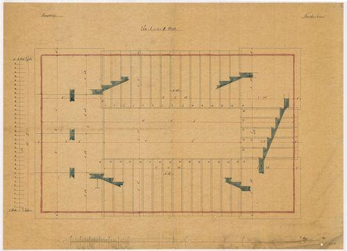 Lánchíd Rt. székháza. Főlépcső első emeleti alaprajza részme... [HU BFL - XV.17.f.331.b - 101/8]