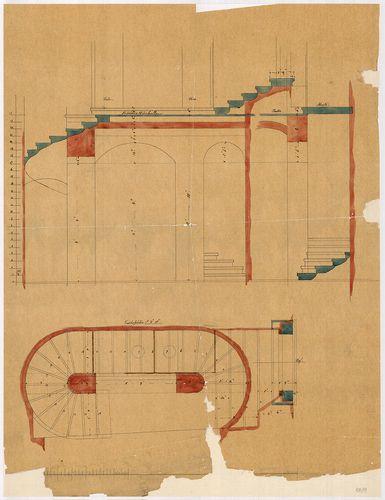 Lánchíd Rt. székháza. Pincelépcső alaprajza és metszetei. [HU BFL - XV.17.f.331.b - 101/11]