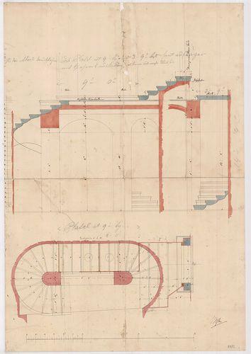 Lánchíd Rt. székháza. Pincelépcső alaprajza és metszetei. [HU BFL - XV.17.f.331.b - 101/12]
