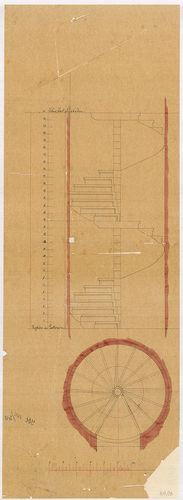 Lánchíd Rt. székháza. Csigalépcső alaprajza és metszete az a... [HU BFL - XV.17.f.331.b - 101/13]