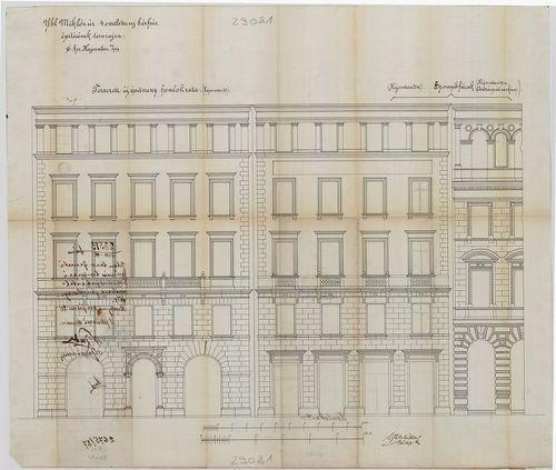 Ybl Miklós bérházai. Egybefüggő homlokzat a két épületről. [HU BFL - XV.17.f.331.b - 135/9]