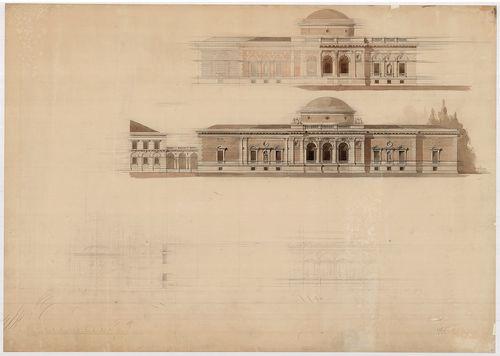 Fürdőépület. Egykupolás épület homlokzata két változatban. [HU BFL - XV.17.f.331.b - 138/1]