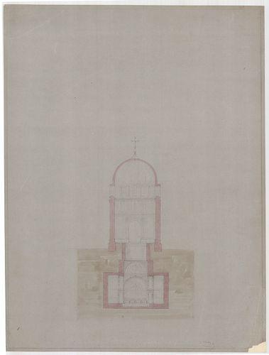 Templomrom átalakítása mauzóleummá. Keresztmetszet, A változ... [HU BFL - XV.17.f.331.b - 140/2]