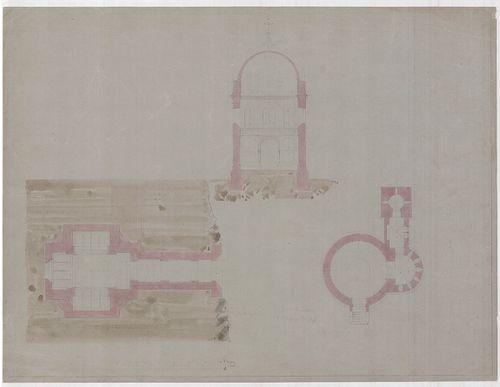 Templomrom átalakítása mauzóleummá. Keresztmetszet A változa... [HU BFL - XV.17.f.331.b - 140/3]