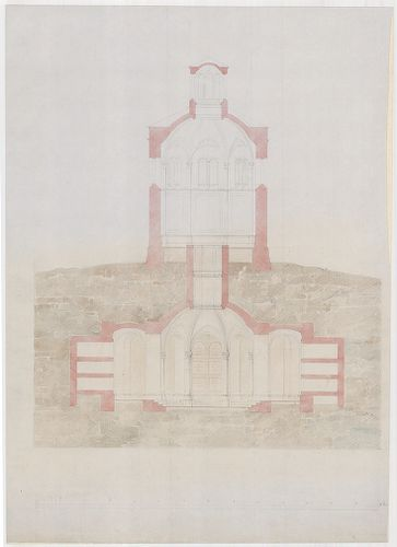Templomrom átalakítása mauzóleummá. Keresztmetszet, C változ... [HU BFL - XV.17.f.331.b - 140/4]