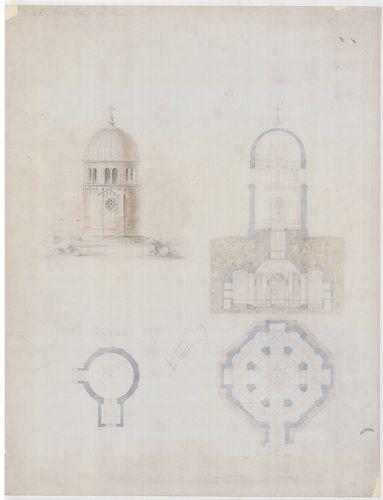 Templomrom átalakítása mauzóleummá. Kerek kápolna, nyolcszög... [HU BFL - XV.17.f.331.b - 140/8]