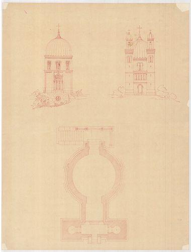 Templomrom átalakítása mauzóleummá. Kéttornyos változat elöl... [HU BFL - XV.17.f.331.b - 140/9]