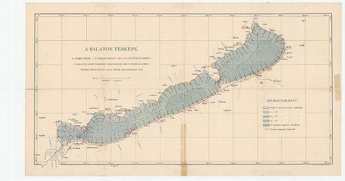 balaton vízmélység térkép A Balaton térképe. Vízmélységek – a vízrajzi osztály 1894–5. [B  balaton vízmélység térkép