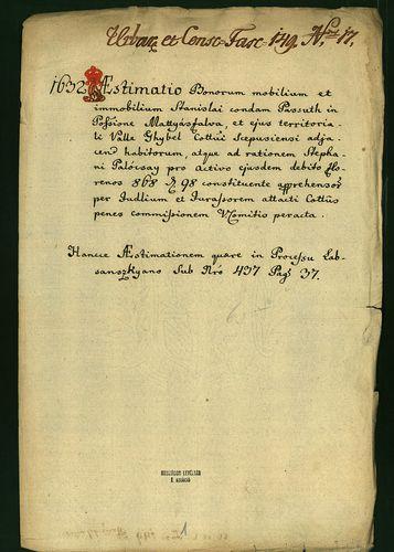 HU MNL OL E 156 - a. - Fasc. 149. - No. 017.